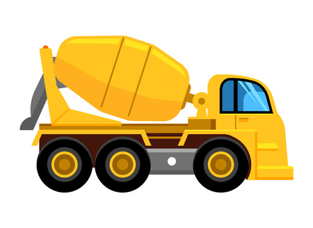 cement mixer truck. work yellow vehicle concrete mixer car vector picture