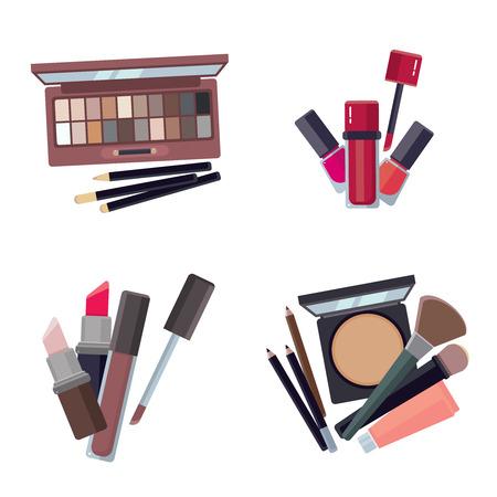 woman cosmetic. makeup beauty accessories bronzer liquid lipstick nail polish mascara makeup pencil eyelashes powder brushes foundation vector