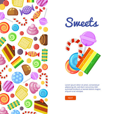 Sweets. Biscuits cakes chocolate and caramel candies wrapped and colored textile design on light background Ilustração