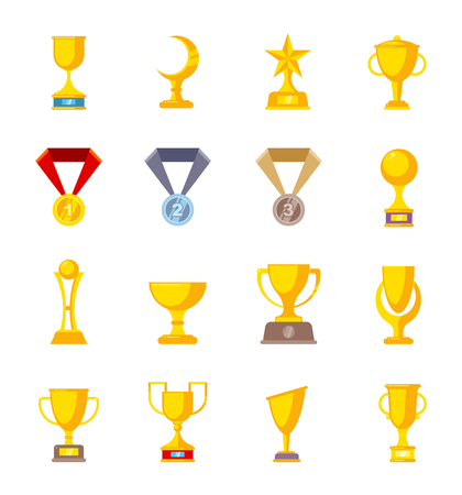 Award trophy cup. Sports winners golden medal rewards vector flat pictures collection isolated