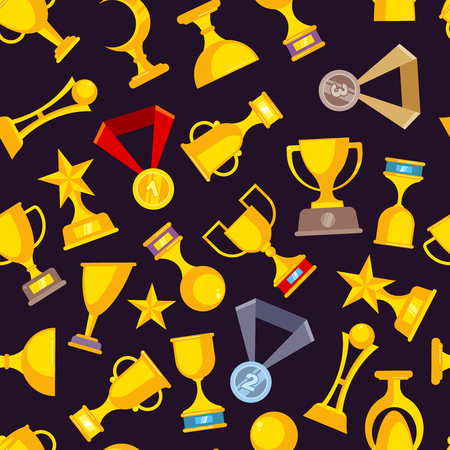 Award trophy cup seamless pattern. Sports winners golden medal rewards vector flat pictures on dark background for textile design production Imagens