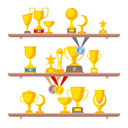 Sport trophy on shelves. Competition golden silver and bronze rewards medals and prize cups for winners vector flat collection