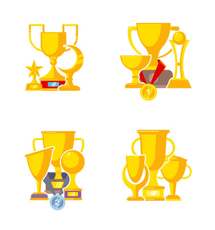 Sport trophy collection. Golden cup and rewards victory medal with ribbons vector flat compositions