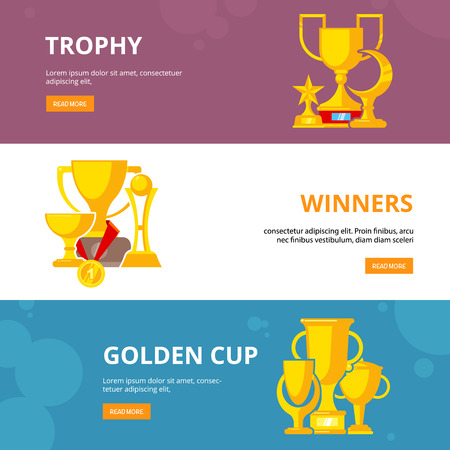 trophy achieve collection. sport golden cup and medals for competition winners vector reward vector banners design with place for text