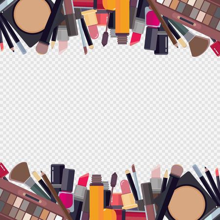 Woman makeup items. Frame design with beauty accessories bronzer liquid lipstick nail polish mascara makeup pencil eyelashes powder brushes foundation vector borders