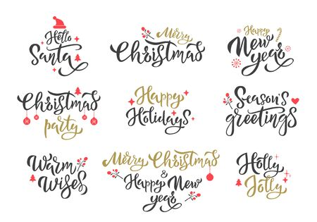 Winter season greetings black ink inscriptions set