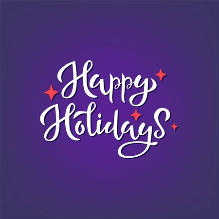 Happy holidays white handwritten isolated vector lettering 向量圖像