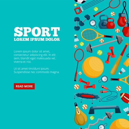 Sports equipment and accessories vector landing page template Illustration