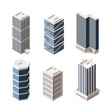 High rise modern buildings isometric vector illustrations set. Skyscrapers 3d models pack. Real estate elements collection on white background. Urban city buildings isolated design elements