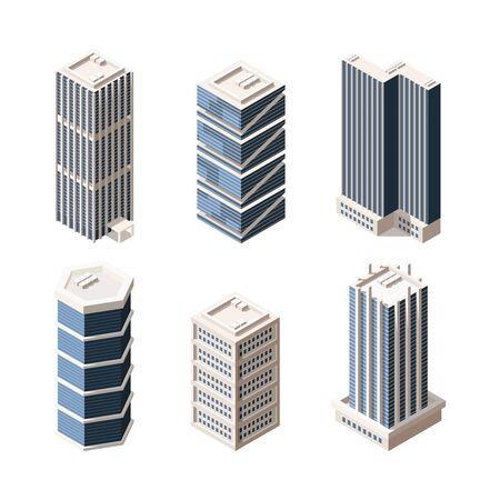 Hochhaus moderne Gebäude isometrische Vektorgrafiken eingestellt. Wolkenkratzer 3D-Modelle Pack. Immobilienelementsammlung auf weißem Hintergrund. Städtische Stadtgebäude isolierte Gestaltungselemente