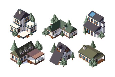 Private country houses isometric vector illustrations set. Cottage houses 3d models collection. Buildings isolated on white background. Real estate icons pack. Accommodation flat design elements Stock Illustratie
