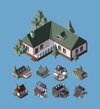 Private houses, cottage isometric vector illustrations set. Modern houses 3d models collection. Country buildings isolated. Real estate icons pack. Accommodation ,townhouse flat design elements
