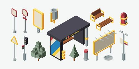 City bus stop 3d isometric vector set. Glass bus station objects collection. Benches, streetlights, garbage can, trash bin, fire hydrant. Modern urban isolated design elements pack