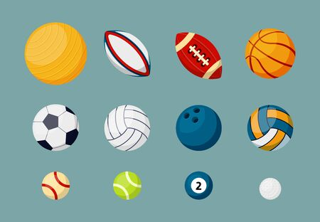 Various sports balls flat vector illustrations set. Active recreation, different competitive games equipment. American football, basketball, soccer, volleyball and baseball matches accessories