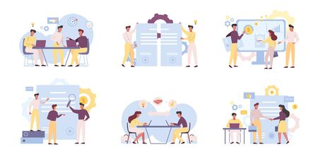 Business analysts teamwork flat vector illustrations set. Coworkers cartoon characters brainstorming, planning marketing strategy. Businessmen partnership and collaboration isolated pack on white Ilustração