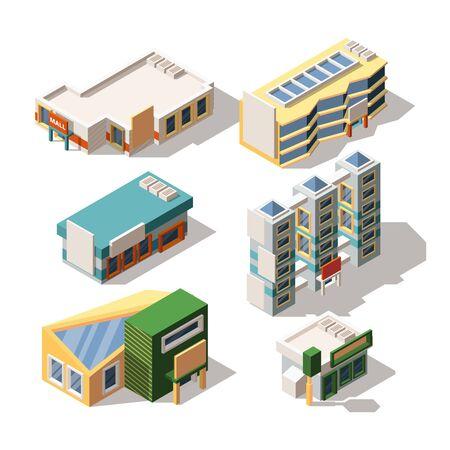 Shopping center exterior designs isometric 3D vector illustrations set