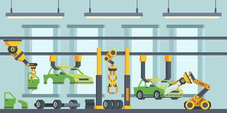 Illustrazione piana di vettore del processo di produzione di automobili moderne