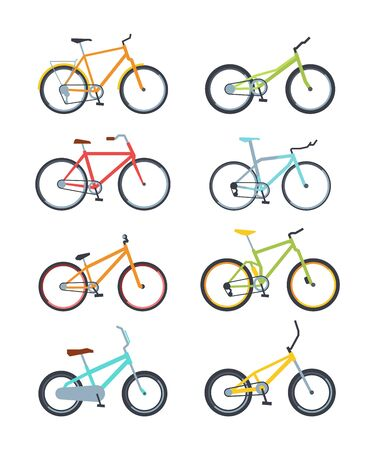 Variety of modern bikes flat vector illustrations set