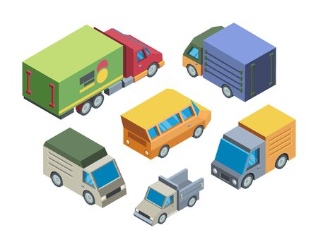 Truck models isometric 3D vector illustrations set Illustration