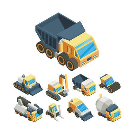 Industrial machinery isometric 3D vector illustrations set
