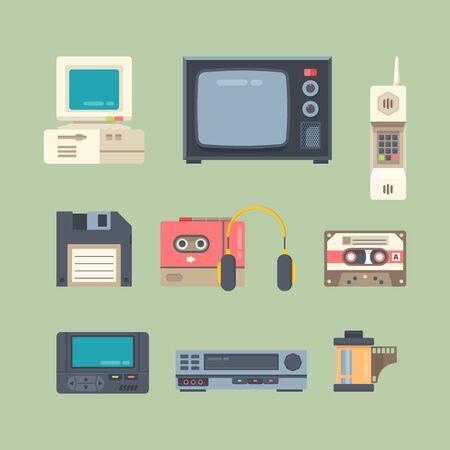 Different 90s gadgets flat vector illustrations set