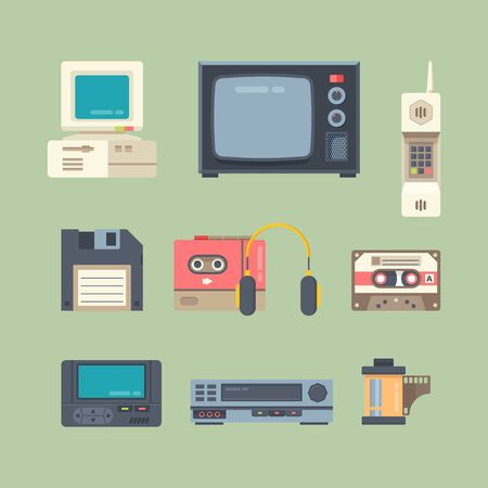 Ensemble d'illustrations vectorielles à plat de différents gadgets des années 90