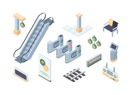 Metro design elements isometric 3D vector illustrations set