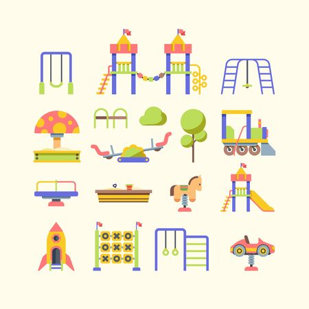 Child playground equipment flat vector illustrations set. Kid outdoor recreation. Street rides and activity. Kindergarden play area. Sandbox, slide and swing isolated cliparts pack on white background