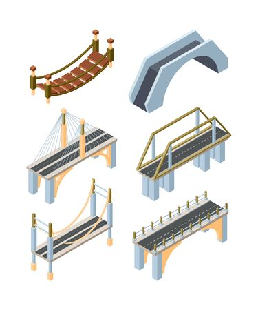 Different types of bridges isometric 3D vector illustrations set. Old and modern carriageway constructions. Urban crossover architecture decor isolated pack. City landscape elements collection Ilustração