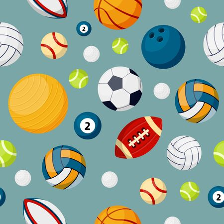 Sport equipment flat vector colorful seamless pattern. Soccer, football and tennis balls. Billiards, volleyball and bowling accoutrement on blue background. Round shape sport accessories