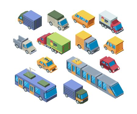Urban transport isometric 3D vector illustrations set Çizim