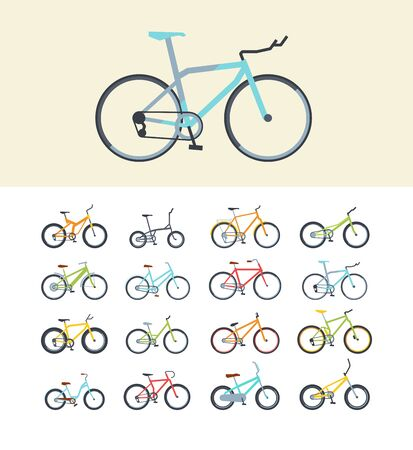Types of modern bikes flat vector illustrations set