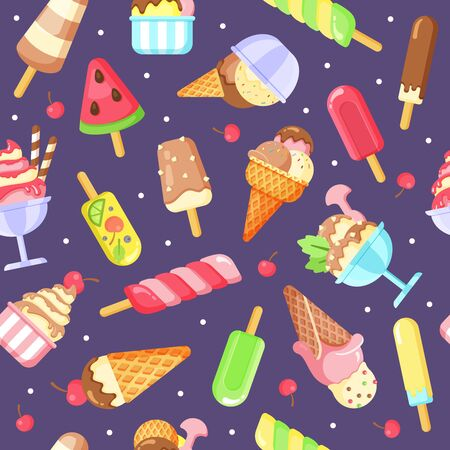 Ice cream flat vector colorful seamless pattern