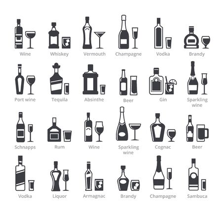Alcohol bottles black glyph vector icons collection