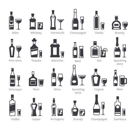 Colección de iconos de vector de glifo negro de botellas de alcohol
