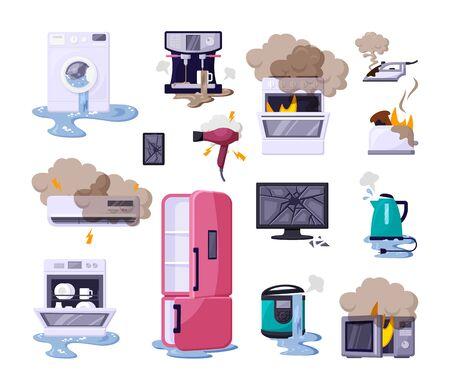 Broken home appliances flat vector illustrations set