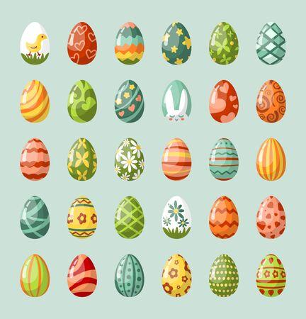 Traditional painted easter eggs flat illustrations set Ilustração