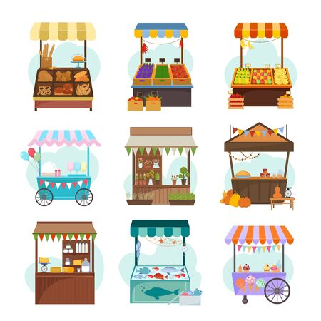 Local markets with different food flat illustrations set. Fruit and vegetable marketplace. Kiosks with milk products. Ice cream cart, bakery. Seafood and grocery counters isolated on white background Stock Illustratie