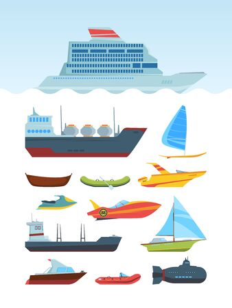 Modern sea ships and boats flat illustrations set. Different water transport collection. Marine vehicles pack. Motorboat, yacht, rowboat. Waterborne vessels. Submarine isolated on white background 向量圖像