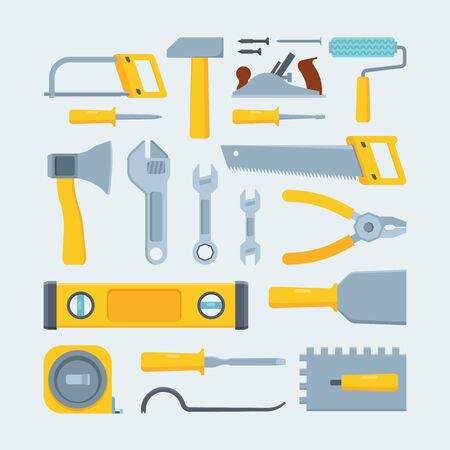 Engineer construction tools and instruments flat illustration set. Mechanic equipment assortment. Saws, wrenches, screwdrivers. Measure tape, pliers. Woodworking facilities isolated on blue background