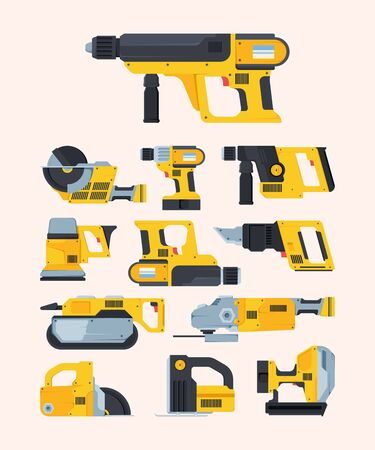 Modern renovation power tools flat illustrations set. Different drills and saws. Repair and engineering equipment pack. Collection of cordless electric instruments isolated on pink background