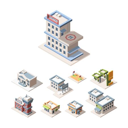 Modern city architecture isometric 3D vector illustrations set. Hospital, fire station, police dept. Post office, high school, stadium. Municipal urban buildings isolated cliparts pack