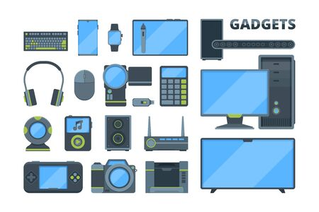 Different modern electronic devices flat illustrations set