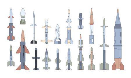 Different guided flying weapon flat illustrations set