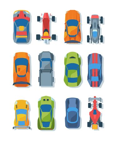 Race cars top view flat illustrations set. Bright racing automobiles. Modern sport transportation. Colorful rally sportcars collection. Sportive vehicles isolated on white background