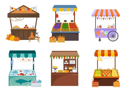 Local markets with foodstuffs flat illustrations set. Kiosks with fresh fruits and vegetables. Marketplace with cheese, ice cream, seafood, homemade food. Grocery counters isolated on white background