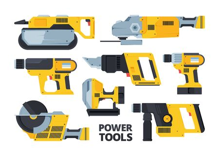 Yellow modern power tools flat illustrations set. Belt sander, circular saw, drill. Repair hardware pack. Rotary hammer. Collection of cordless electric equipment isolated on white background Banque d'images - 135651113