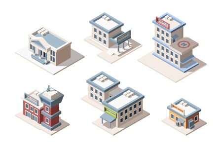 City buildings isometric 3D vector illustrations set. Fire station, police dept, post office. High school and hospital. Modern architecture isolated cliparts pack. Urban houses collection