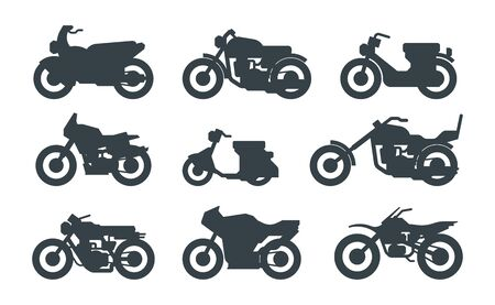 Different motorized vehicles black glyph icons set. Roadster, chopper, scooter. Modern street bikes. Scrambler, sportbike, cruiser. Motorbikes vector silhouettes isolated on white background