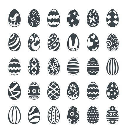 Decorated black Easter eggs vector icon set